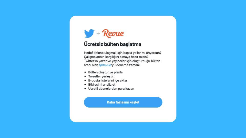 Twitter, Revue entegrasyonunu Türkiye'de de test etmeye başladı